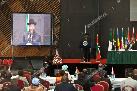 President of Federal Republic of Nigeria, Dr. Goodluck Ebele Jonathan, appears on the large screen during his speech at the the AU Summit, in Nairobi, Kenya. A one-day African Union Peace and Security Summit started in Nairobi, Kenya, Tuesday