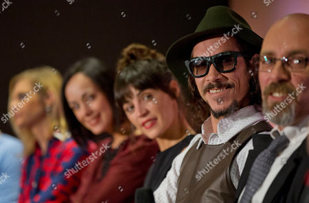 Ana Layevska, Gabriela de la Garza, Ilse Salas, Oscar Jaenada, Sebastian del Amo The cast and crew of Cantinflas, a biopic about the life of Mario Moreno, one of Mexico's most famous actors of all time, answer questions from journalists during a press conference to promote the film's release, in Mexico City, Mexico, . From left, are actress Ana Layevska, actress Gabriela de la Garza, actress Ilse Salas, lead actor Oscar Jaenada, and director Sebastian del Amo