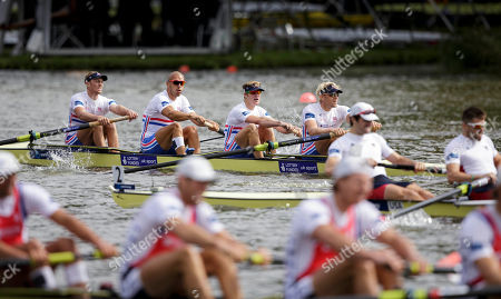 Alex Greggory, Mohamed Sbihi, George Nash and Andrew Triggs Hodge of the Great Britain Men's Four, top, compete to win the Final event of the World Rowing Championships in Amsterdam, Netherlands