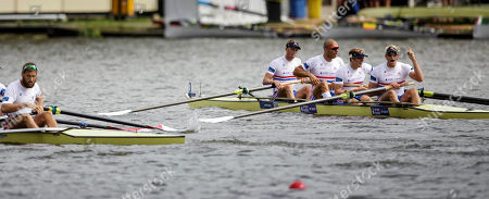 Alex Greggory, Mohamed Sbihi, George Nash and Andrew Triggs Hodge of the Great Britain Men's Four compete to win the Final event of the World Rowing Championships in Amsterdam, Netherlands
