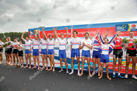 Stock Picture of Britain's Nathaniel Reilly-O'Donnell, Matthew Tarrant, William Satch, Matthew Gotrel, Pete Reed, Paul Bennett, Tom Ransley, Constantine Louloudis and Phelan Hill celebrate after winning the Men's Eight event of the World Rowing Championships in Amsterdam, Netherlands