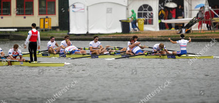 Britain's Nathaniel Reilly-O'Donnell, Matthew Tarrant, William Satch, Matthew Gotrel, Pete Reed, Paul Bennett, Tom Ransley, Constantine Louloudis and Phelan Hill celebrate after winning the Men's Eight event of the World Rowing Championships in Amsterdam, Netherlands