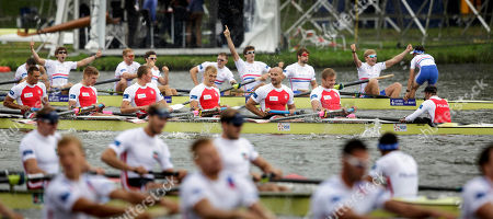 Britain's Nathaniel Reilly-O'Donnell, Matthew Tarrant, William Satch, Matthew Gotrel, Pete Reed, Paul Bennett, Tom Ransley, Constantine Louloudis and Phelan Hill compete to win the Men's Eight event of the World Rowing Championships in Amsterdam, Netherlands