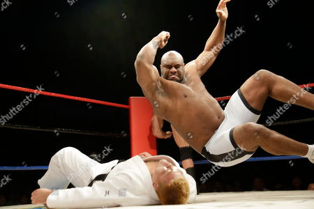 """Bob """"The Beast"""" Sapp Bob """"The Beast"""" Sapp jumps onto his opponent during a pro wrestling exhibition, in Pyongyang, North Korea. North Koreans got their first look at pro wrestling in about 20 years on Saturday when a former NFL lineman and 20 other fighters from around the world took to the ring for an exhibition in Pyongyang put together by a colourful Japanese pro-wrestler who is now a member of parliament"""