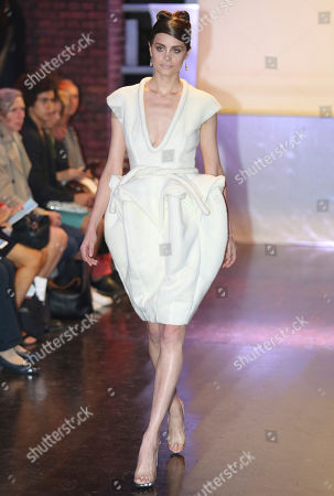 A model wears a creation for British fashion designer Corrie Nielsen's ready-to-wear Spring/Summer 2015 fashion collection presented in Paris, France