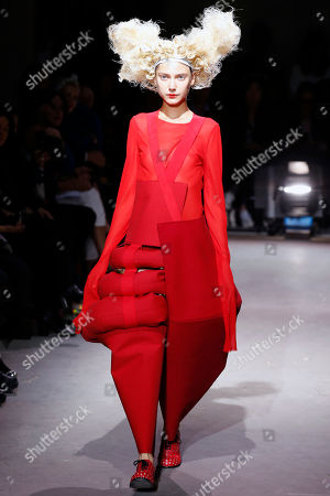 163b2439fd A model wears a creation by Japanese fashion designer Rei Kawakubo for  Comme Des Garcons