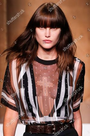 Catherine McNeil Model Catherine McNeil wears a creation as part of Givenchy's Spring/Summer 2015 ready-to-wear fashion collection, presented in Paris, France