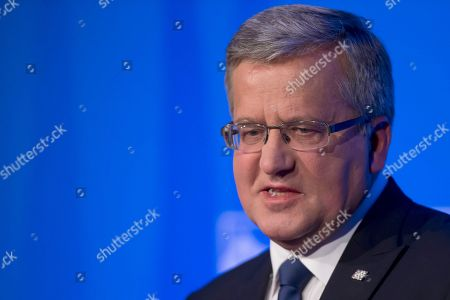 Polish President Bronislaw Komorowski as he speaks during a press conference at the NATO summit at the Celtic Manor Resort in Newport, Wales. Poland will hold presidential elections on May 10, 2915 around the time of planned World War II remembrance observances that have aggravated a historic dispute between Poland and Russia. The campaign is also expected to raise emotions, because Poland's first ever trans-gender candidate, lawmaker Anna Grodzka, and a former TV presenter with little political experience, Magdalena Ogorek, have said they will be running for a five-year term against incumbent Bronislaw Komorowski, who leads opinion polls