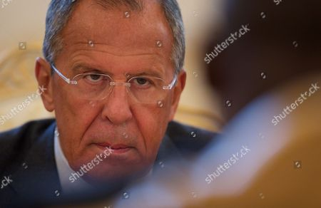 Sergey Lavrov, Abdoulaye Diop Russian Foreign Minister Sergey Lavrov speaks during his meeting with Malian Foreign Minister Abdoulaye Diop, right, in Moscow, Russia