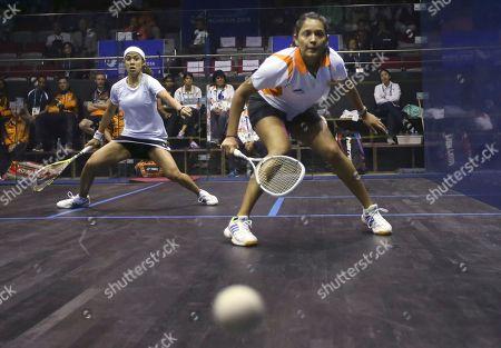 Nicol David, Deepika Pallikal Malaysia's Nicol David, left, and India's Deepika Pallikal, right, compete during their women's team squash final match at the 17th Asian Games in Incheon, South Korea