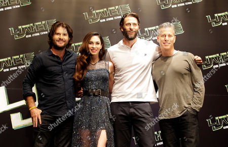"""Jonathan Liebesman, Megan Fox, Andrew Form, Brad Fuller Director Jonathan Liebesman, actress Megan Fox, producers Andrew Form and Brad Fuller, from left to right, pose for the photographers during a press conference for latest film """"Teenage Mutant Ninja Turtles"""" in Seoul, South Korea, . The movie is to be released in South Korea on Aug. 28"""