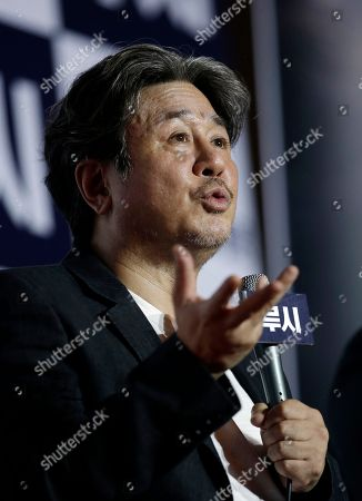 "Cho Min-sik South Korean actor Choi Min-sik speaks to media during a press conference for new movie ""Lucy"" in Seoul, South Korea, . The movie is to be released in South Korea on Sept. 4"