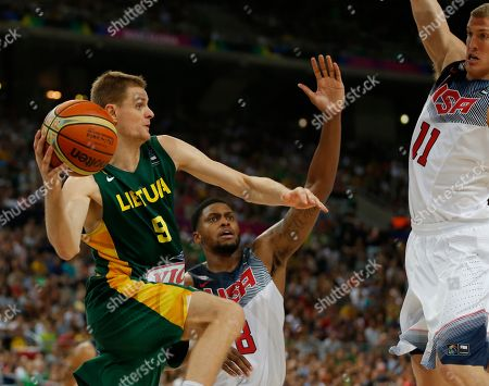 Rudy Gay, Mason Plumlee, Renaldas Seibutis United States's Rudy Gay, center, and his teammate Mason Plumlee, right, defense against Lithuania's Renaldas Seibutis during their Basketball World Cup semifinal match at the Palau Sant Jordi in Barcelona, Spain