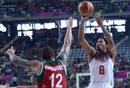 Derrick Rose, Hector Hernandez Derrick Rose of the U.S, right, shoots over Mexico's Hector Hernandez during Basketball World Cup Round of 16 match between United States and Mexico at the Palau Sant Jordi in Barcelona, Spain, . The 2014 Basketball World Cup competition will take place in various cities in Spain from Aug. 30 through to Sept. 14