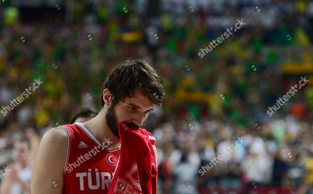 Omer Asik Turkey's Omer Asik waits to play during the Basketball World Cup quarterfinal match against Lithuania at the Palau Sant Jordi in Barcelona, Spain, . The 2014 Basketball World Cup competition will take place in various cities in Spain from Aug. 30 through to Sept. 14