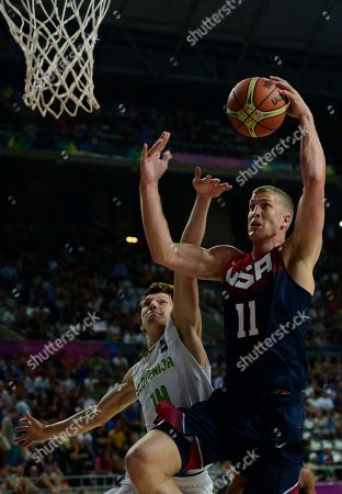 Mason Plumlee, Jaka Klobucar Mason Plumlee of the U.S, right, vies for the ball with Slovenia's Jaka Klobucar during the Basketball World Cup quarterfinal between Slovenia and United States at the Palau Sant Jordi in Barcelona, Spain, . The 2014 Basketball World Cup competition will take place in various cities in Spain from Aug. 30 through to Sept. 14