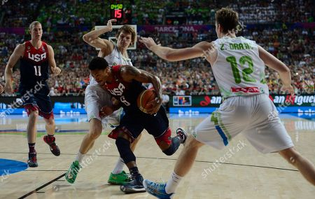 Jaka Klobucar, Derrick Rose Derrick Rose of the U.S, second right, vies for the ball with Slovenia's Jaka Klobucar during Basketball World Cup quarterfinal between Slovenia and United States at the Palau Sant Jordi in Barcelona, Spain, . The 2014 Basketball World Cup competition will take place in various cities in Spain from Aug. 30 through to Sept. 14