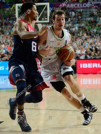 Derrick Rose, Goran Dragic Derrick Rose of the U.S, left, vies for the ball with Slovenia's Goran Dragic during their Basketball World Cup quarterfinal match at the Palau Sant Jordi in Barcelona, Spain, . The 2014 Basketball World Cup competition will take place in various cities in Spain from Aug. 30 through to Sept. 14
