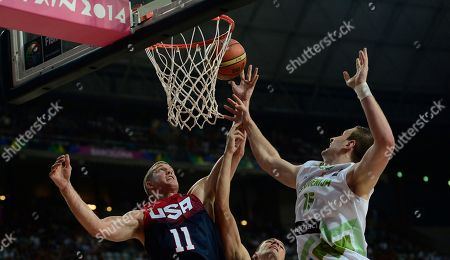 Mason Plumlee, Alen Omic Mason Plumlee of the U.S, left, vies for the ball with Slovenia's Alen Omic during Basketball World Cup quarterfinal between Slovenia and United States at the Palau Sant Jordi in Barcelona, Spain, . The 2014 Basketball World Cup competition will take place in various cities in Spain from Aug. 30 through to Sept. 14