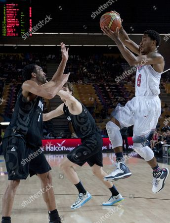 Derrick Rose, Everard Bartlett Derrick Rose of the U.S, right, controls the ball in front New Zealand's Everard Bartlett, during the Group C Basketball World Cup match, in Bilbao northern Spain, . The 2014 Basketball World Cup competition take place in various cities in Spain from last Aug. 30 through to Sept. 14. Unites States won 98-71