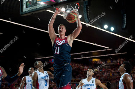 Mason Plumlee Mason Plumlee of the US dunks the ball during the Group C Basketball World Cup match against Dominican Republic in Bilbao northern Spain, . The 2014 Basketball World Cup competition take place in various cities in Spain from Aug. 30 to Sept. 14