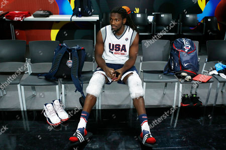 Kenneth Faried of US rests during a training session in Madrid, Spain, . US will play Serbia in the 2014 Basketball World Cup final game on Sunday