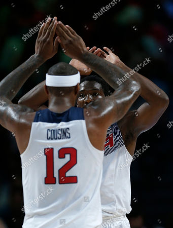 Kenneth Faried, DeMarcus Cousins United States' Kenneth Faried and United States' DeMarcus Cousins celebrate during the final World Basketball match between the United States and Serbia at the Palacio de los Deportes stadium in Madrid, Spain