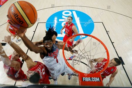 Kenneth Faried United States' Kenneth Faried pushes the ball up to the basket during the final World Basketball match between the United States and Serbia at the Palacio de los Deportes stadium in Madrid, Spain