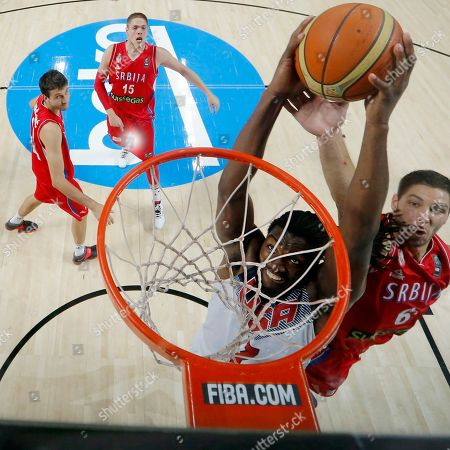 Kenneth Faried United States' Kenneth Faried attempts to dunk during the final World Basketball match between the United States and Serbia at the Palacio de los Deportes stadium in Madrid, Spain