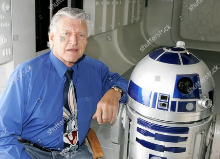 Dave Prowse (Darth Vader) promoting  the Star Wars exhibition with R2D2