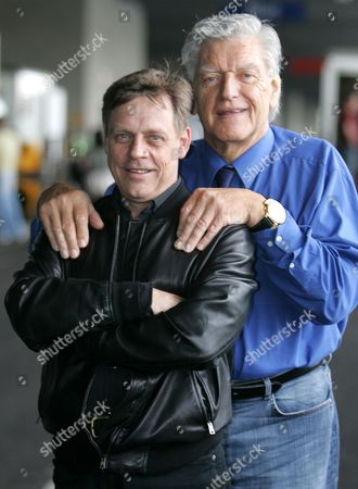 Dave Prowse (Darth Vader) and Mark Hamill (Luke Skywalker) were reunited to promote the Star Wars exhibition