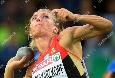 Germany's Lilli Schwarzkopf makes an attempt in the shot put of the women's heptathlon during the European Athletics Championships in Zurich, Switzerland
