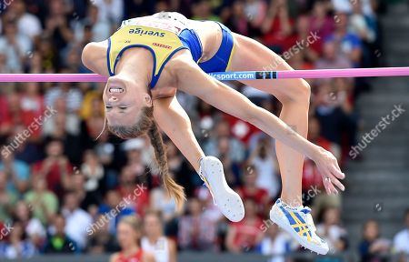 Sweden's Emma Green makes an attempt in the women's high jump final during the European Athletics Championships in Zurich, Switzerland