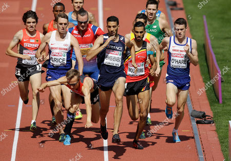 Stock Picture of Germany's Florian Orth, third from left, falls in the men's 1500m final during the European Athletics Championships in Zurich, Switzerland