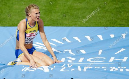Sweden's Emma Green reacts after attempt in the women's high jump final during the European Athletics Championships in Zurich, Switzerland