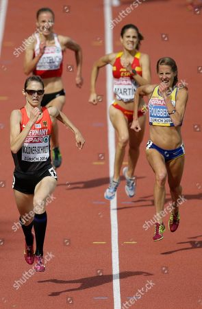 Germany's Antje Moeldner-Schmidt races to the finish line as she wins the gold medal in the women's 3000m steeplechase final during the European Athletics Championships in Zurich, Switzerland