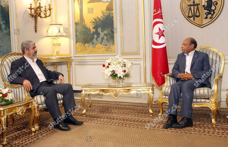 Moncef Marzouki, Khaled Meshaal Tunisian president Moncef Marzouki, right, speaks with Hamas leader Khaled Meshaal at the Carthage presidential palace in Tunis. Friday, Sept., 12, 2014