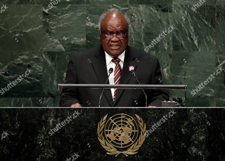 Stock Picture of Hifikepunye Pohamba Namibian President Hifikepunye Pohamba addresses the 69th session of the United Nations General Assembly, at U.N. headquarters