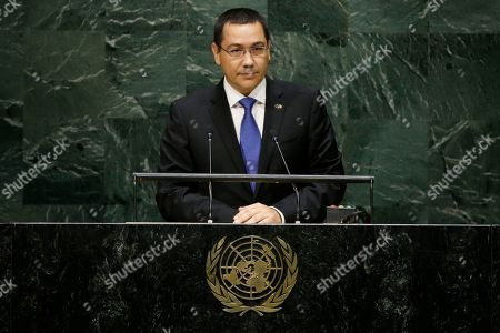 Stock Image of Victor-Viorel Ponta Romania's Prime Minister Victor-Viorel Ponta addresses the 69th session of the United Nations General Assembly, at the United Nations headquarters