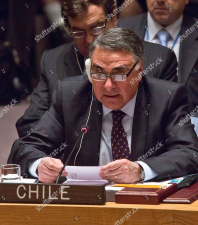 Chile's Vice Minister of Foreign Affairs Edgardo Riveros speaks during a meeting on Iraq in the U.N. Security Council, at the United Nations headquarters