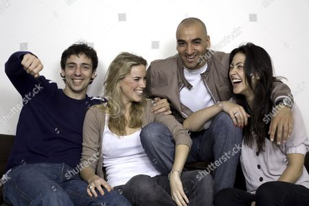 Stock Image of The cast of 'KateModern' - Ralf Little (Gavin), Alex Weaver (Kate), Jai Rajani (Tariq) and Tara Rushton (Charlie). It is the UK spin-off from the hugely popular US webcast 'Lonely Girl 15' which will be aired on social networking site www.bebo.com from 16 July