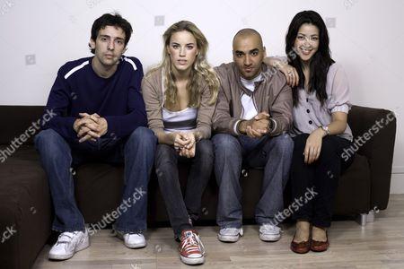 "Stock Photo of The cast of ""Kate Modern"", the UK spin-off from the hugely popular US webcast ""Lonely Girl 15"". Left to right: Ralf Little (Gavin), Alex Weaver (Kate), Jai Rajani (Tariq) and Tara Rushton (Charlie)."
