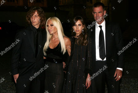 Donatella Versace with son Daniel, daughter Allegra and husband Paul Beck