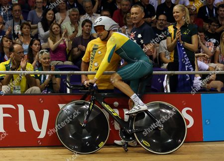 Australia's Jack Bobridge celebrates with friends and family after winning the Men's 4000m Individual pursuit at the Velodrome in Glasgow, Scotland