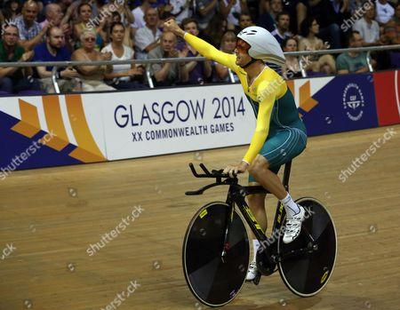 Australia's Jack Bobridge celebrates after winning the Men's 4000m Individual pursuit qualifying round at the Velodrome in Glasgow, Scotland