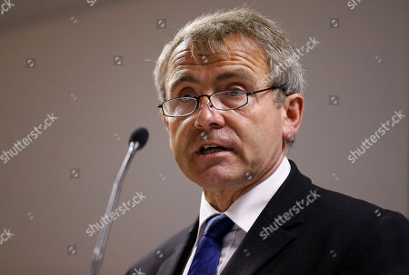 Stock Picture of Robert Goodwill, UK Parliamentary Under Secretary of State for Transport speaks to the media during the announcement of possible locations in Britain for building Spaceports during Farnborough International Air Show, Farnborough, England