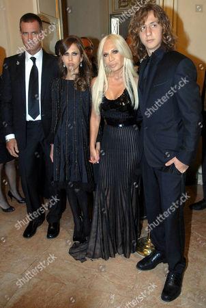 Paul Beck, Allegra Versace Beck, Donatella Versace and Daniel Beck.