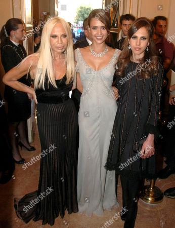 Donatella Versace, Jessica Alba and Allegra Versace Beck.