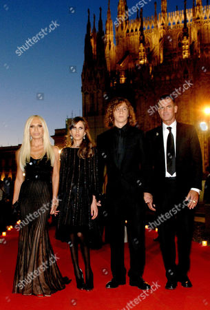 Donatella Versace with Allegra and Daniel Versace Beck and ex husband Paul Beck