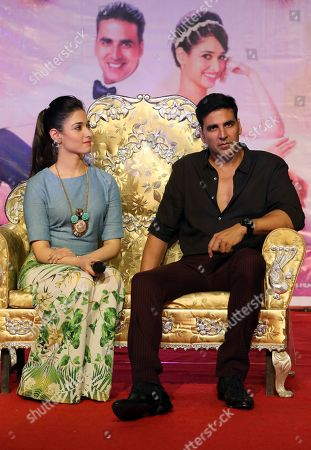 Akshay Kumar, Tamannaah Bhatia Bollywood actors Akshay Kumar, right, and Tamannaah Bhatia attend an event at a college to promote their upcoming movie 'Entertainment' in Bangalore, India, . The slapstick comedy movie is scheduled to be released on Aug. 8